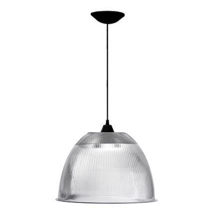 Luminária Prismática 16 Pol Pendente Plástico Preto E-27 - Claron