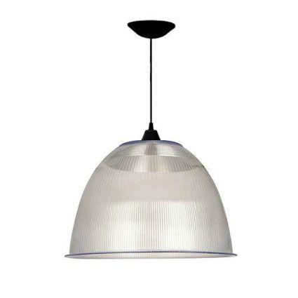 Luminária Prismática 22 Pol Pendente Plástico Preto E-27 - Claron