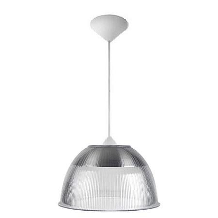 Luminária Prismática 12 Pol Pendente Plastico Branco E-27 - Claron