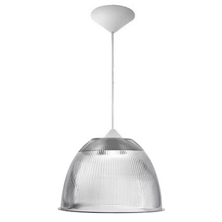 Luminária Prismática 16 Pol Pendente Plastico Branco E-27 - Claron
