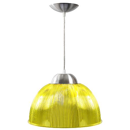 Luminária Prismática 12 Pol Pendente Amarelo Luxo E-27 - Claron
