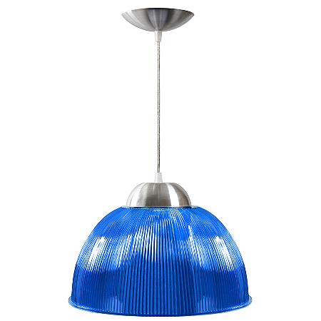 Luminária Prismática 12 Pol Pendente Azul Luxo E-27 - Claron