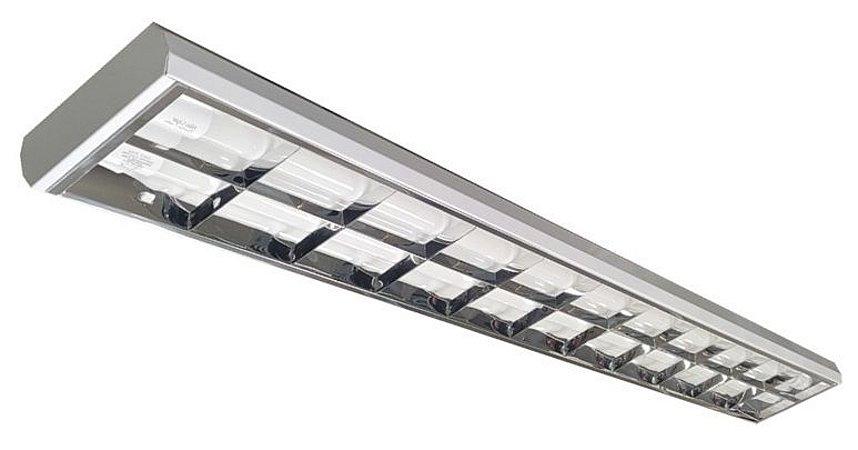 Luminária Comercial Aletada Alto Rendimento de Sobrepor para Lâmpada Led T8 2x18W 20W