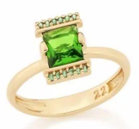 """Anel Folheado a ouro 18k """"skinny Ring"""" Zirconia Quadrada Verde"""