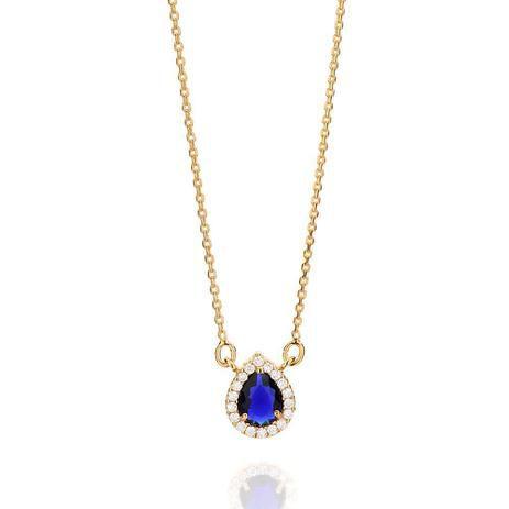 Gargantilha Folheada a Ouro 18K Pendant Cravejado e Gota de Zirconia Azul