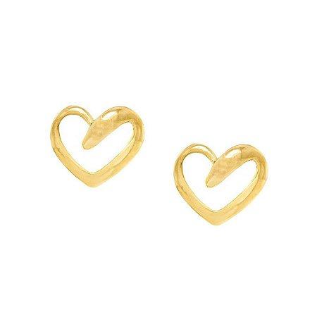 Brinco Folheado a Ouro 18k Coração Vazado