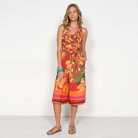 REF:. 7123 Macacão Pantacourt Pincelada Tropical Vermelho