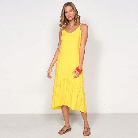 REF:. 7042 Vestido Midi Evasê Amarelo