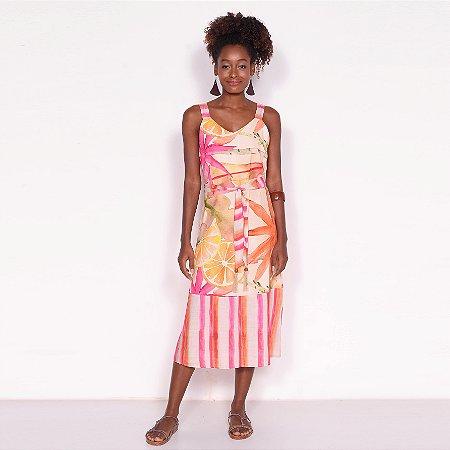 REF:. 7016 Vestido Midi Laranjamor Rosa