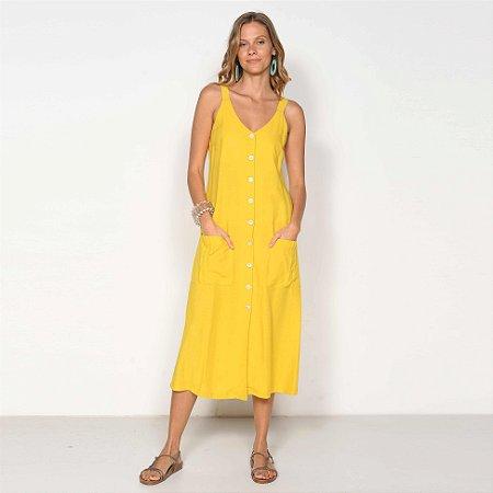 REF:. 7006 Vestido Midi Amarelo