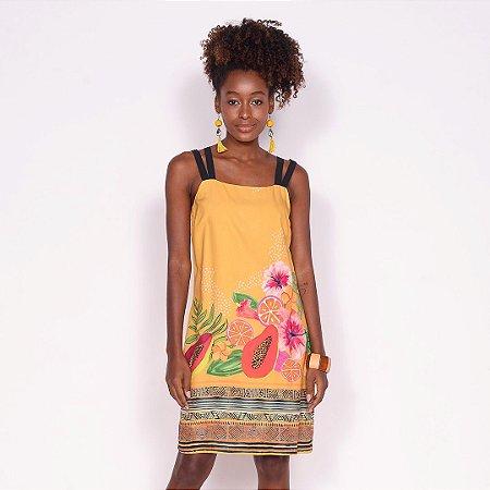 REF:. 6956  Vestido Curto Flor da Terra Amarelo