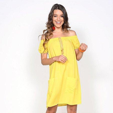 REF:. 7240 Vestido Ombro a Ombro Amarelo