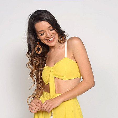 REF:. 7214  Top em Viscose com Linho Amarelo