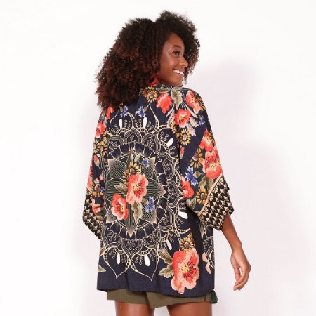 "REF: 6917 Kimono ""Mandala""  - Fundo marinho"