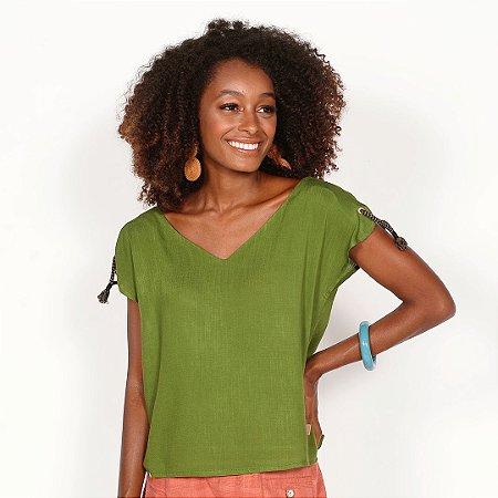 REF:.  6586  Blusa em viscose rústica - Verde