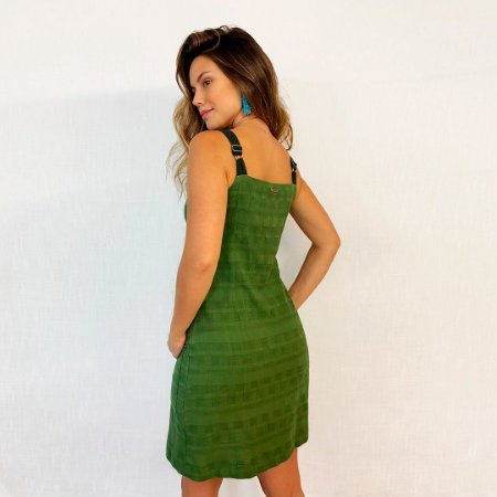 REF:.  6927  Vestido curto em linho misto rústico - Verde