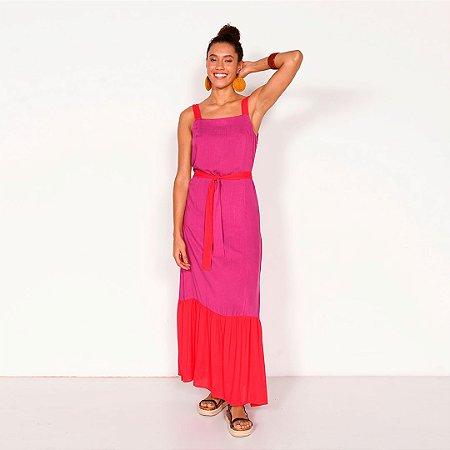 REF:. 6839  Vestido longo em viscose rústica - Uva pink