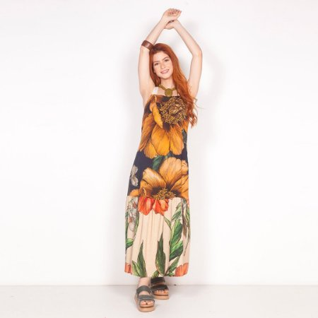 "REF:. 6842  Vestido ""Maxi floral"" - Marinho"