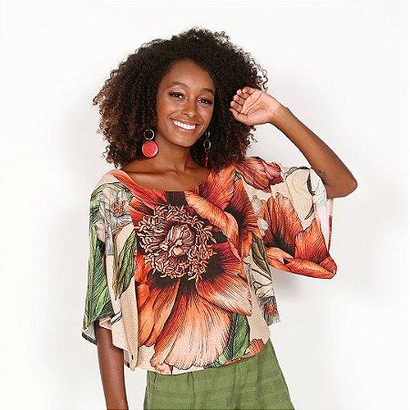 "REF:. 6844  Blusa ""Maxi floral"" - Fundo natural"