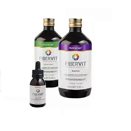 Kit Monovin Fibervit Nutra Hair Crescimento Capila