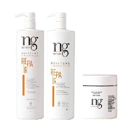 Kit Repair shampoo, Condicionador 1L e Máscara 500g NG De France