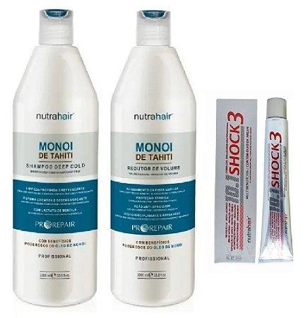 Redutor + Shampoo Monoi De Tahit+ Pomada shock3 - Nutra Hair