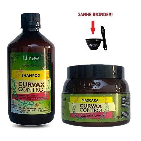 Kit Pantovin Shampoo e Máscara Curvax Control Three Therapy