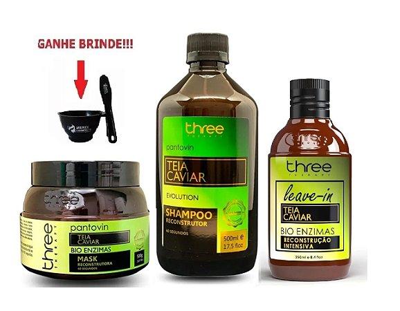 Kit Teia Shampoo e Máscara 500g e Leave-in Three Therapy