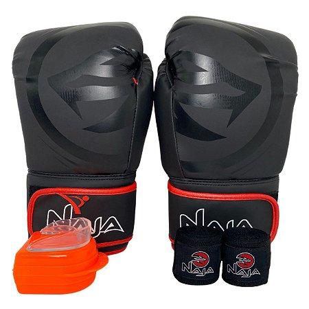 Kit Boxe Luva de Boxe / Muay Thai 12oz Black Line  + Bandagem + Bucal - Preto com Vermelho - Naja