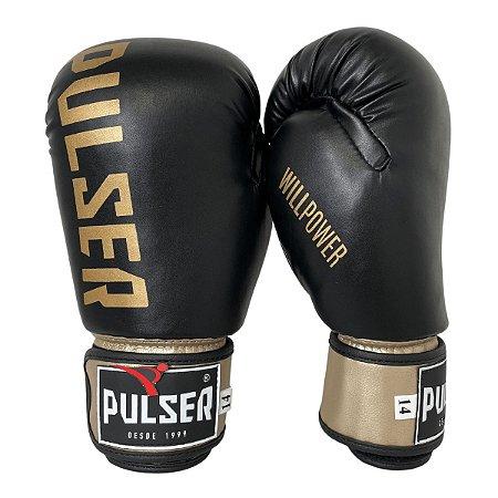 Luva de Boxe / Muay Thai 14oz PU - Preto com Dourado Minimal - Pulser