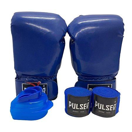Kit Boxe Luva de Boxe / Muay Thai Infantil 06oz PU + Bandagem + Bucal - Azul - Pulser