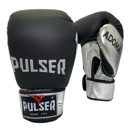 Luva de Boxe / Muay Thai 12oz Couro Legitimo Linha Adoma - Preto com Prata - Pulser