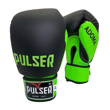 Luva de Boxe / Muay Thai 14oz Couro Legitimo Linha Adoma - Preto com Verde Limão - Pulser