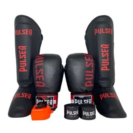 Super Kit Thai Luva de Boxe / Muay Thai 12oz PU + Caneleira 30mm G + Bandagem + Bucal - Preto com Bordo Minimal - Pulser