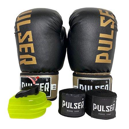 Kit Boxe Luva de Boxe / Muay Thai 10oz PU + Bandagem + Bucal - Preto com Dourado Minimal - Pulser