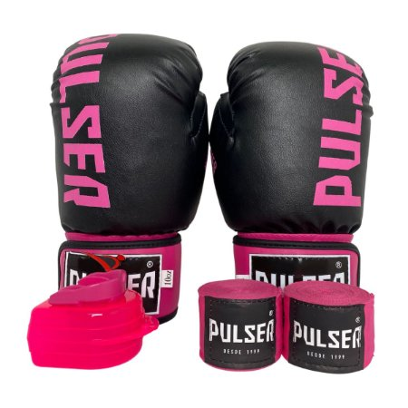 Kit Boxe Luva de Boxe / Muay Thai 10oz PU + Bandagem + Bucal - Preto com Rosa Minimal - Pulser