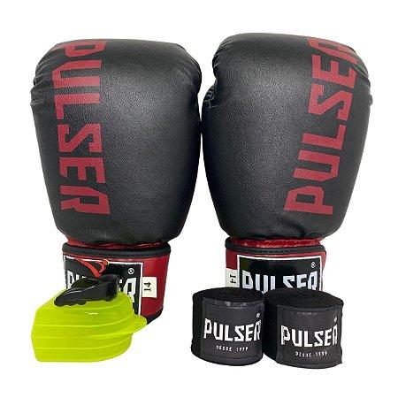 Kit Boxe Luva de Boxe / Muay Thai 14oz PU + Bandagem + Bucal - Preto com Bordo Minimal - Pulser