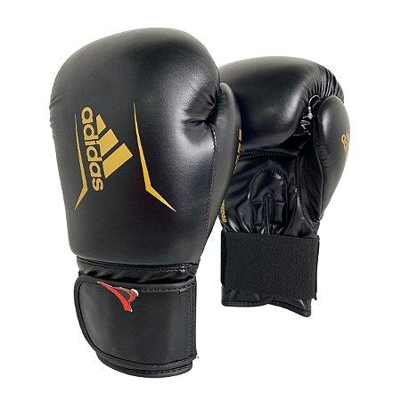 Luva de Boxe / Muay Thai 12oz Speed 50 - Preto com Dourado - Adidas