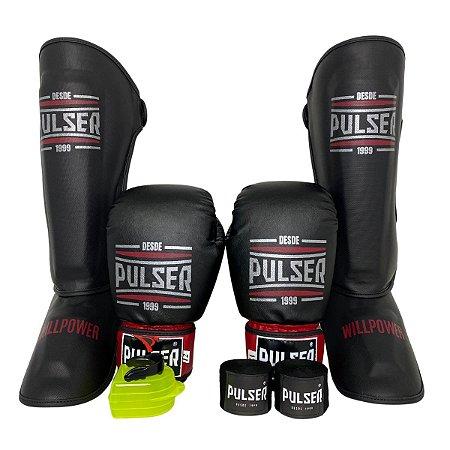 Super Kit Thai Luva de Boxe / Muay Thai 12oz PU + Caneleira 30mm G + Bandagem + Bucal - Preto com Bordo Sport - Pulser