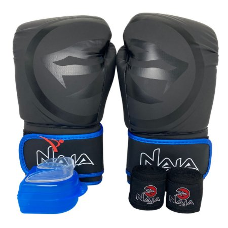 Kit Boxe Luva de Boxe / Muay Thai 14oz Black Line  + Bandagem + Bucal - Preto com Azul - Naja