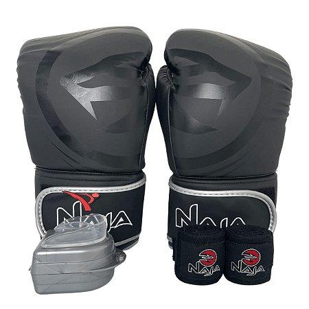 Kit Boxe Luva de Boxe / Muay Thai 12oz Black Line  + Bandagem + Bucal - Preto com Prata - Naja