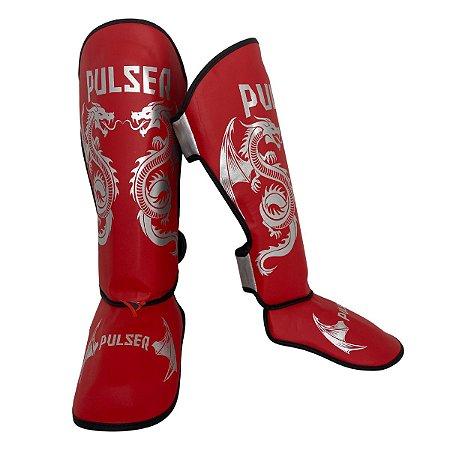 Caneleira Muay Thai MMA Kickboxing Tamanho Grande 30mm - Vermelho com Prata Dragão - Pulser