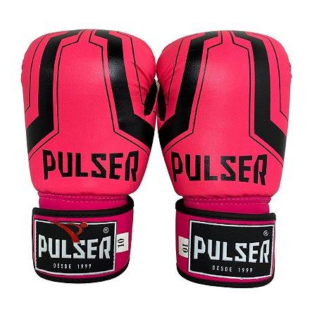 Luva de Boxe / Muay Thai Feminina 10oz PU - Rosa com Preto Iron - Pulser