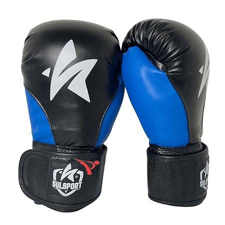 Luva de Boxe / Muay Thai 12oz PU - Preto com Azul - Sulsport