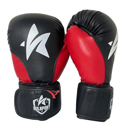 Luva de Boxe / Muay Thai 12oz PU - Preto com Vermelho - Sulsport