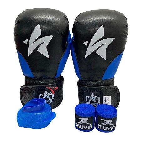 Kit Boxe Luva de Boxe / Muay Thai 12oz PU + Bandagem + Bucal - Preto com Azul - Sulsport