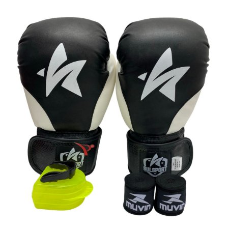Kit Boxe Luva de Boxe / Muay Thai 12oz PU + Bandagem + Bucal - Preto com Branco - Sulsport