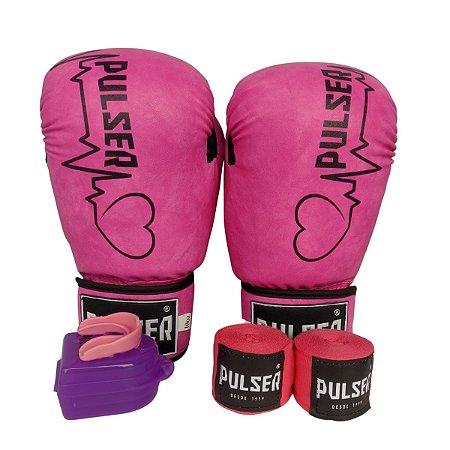 Kit Boxe Luva de Boxe / Muay Thai 10oz PU + Bandagem + Bucal - Rosa com Coração - Pulser