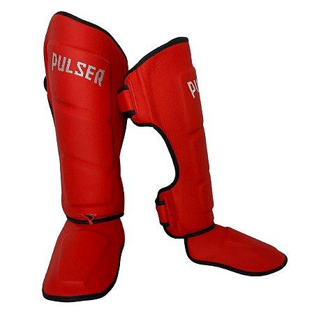 Caneleira Muay Thai MMA Kickboxing Tamanho Grande 40mm COURO LEGITIMO - Vermelho - Pulser