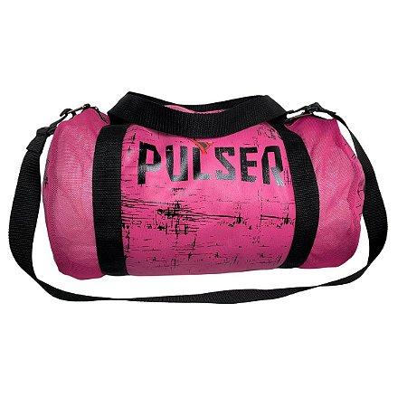 Bolsa Média Treino Fitness Academia Feminina - Rosa com Preto Riscado - Pulser